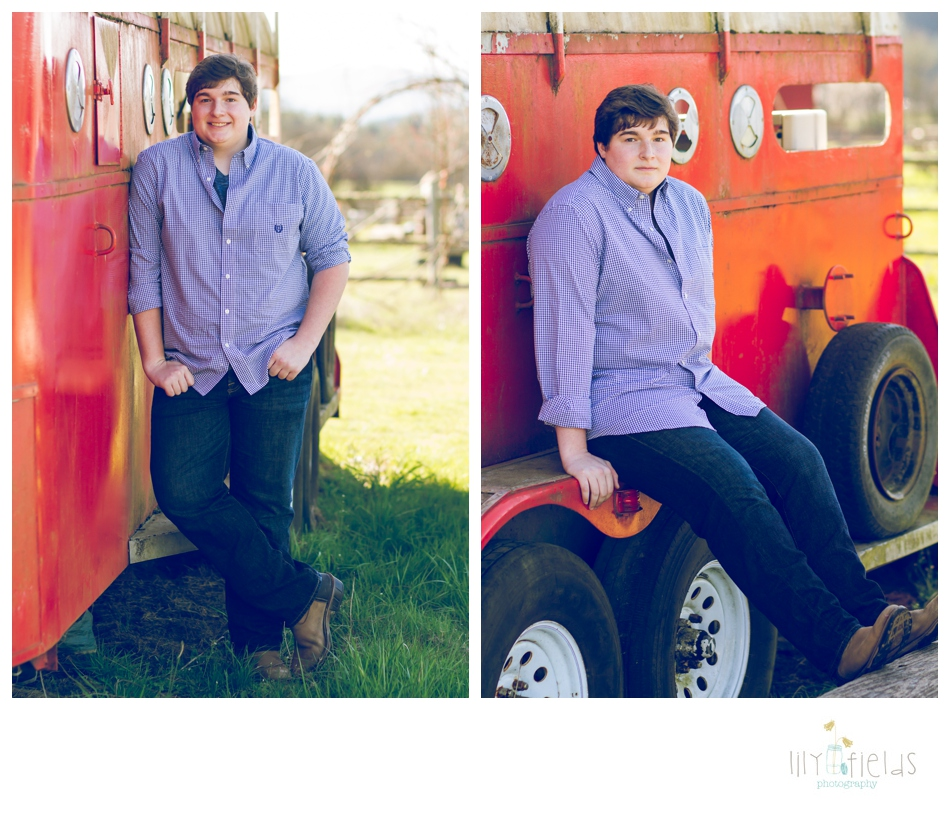 Senior guy photo, horse trailer, red, country