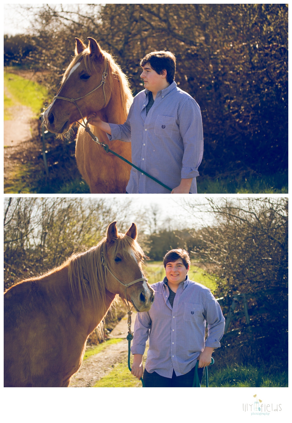 senior guy photo, horse, country