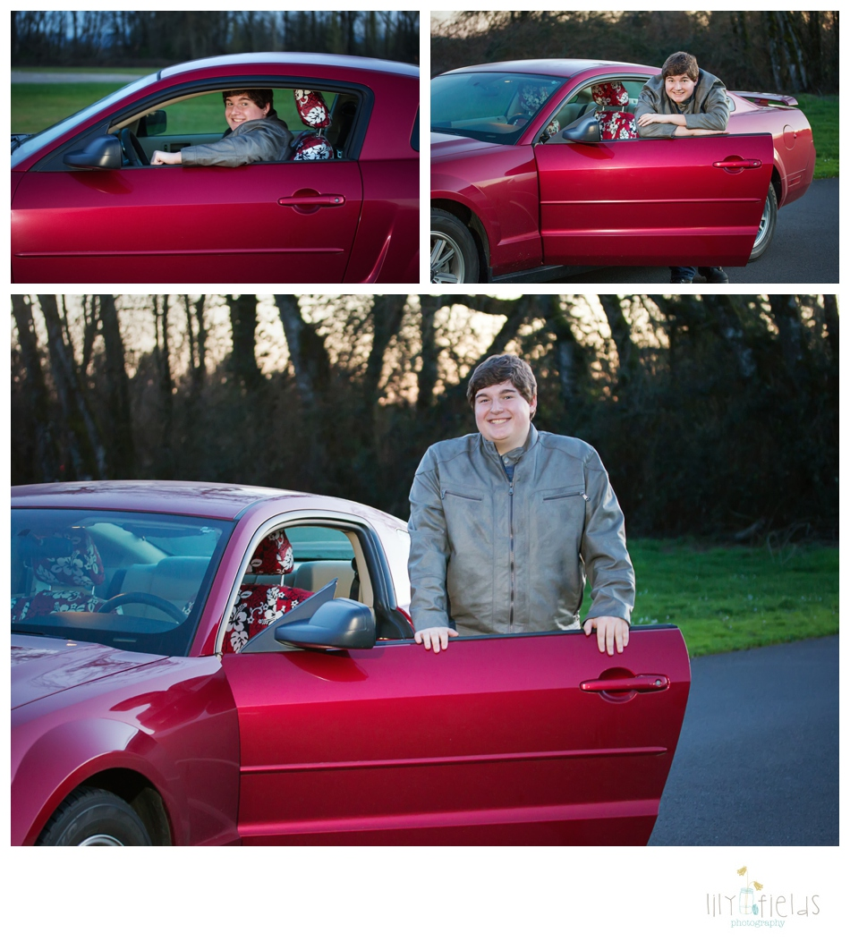 senior guy photo, mustang, car